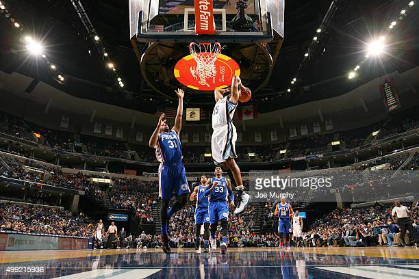 Vince Carter of the Memphis Grizzlies goes up for a dunk against the Philadelphia 76ers on November 29 2015 at FedExForum in Memphis Tennessee NOTE...