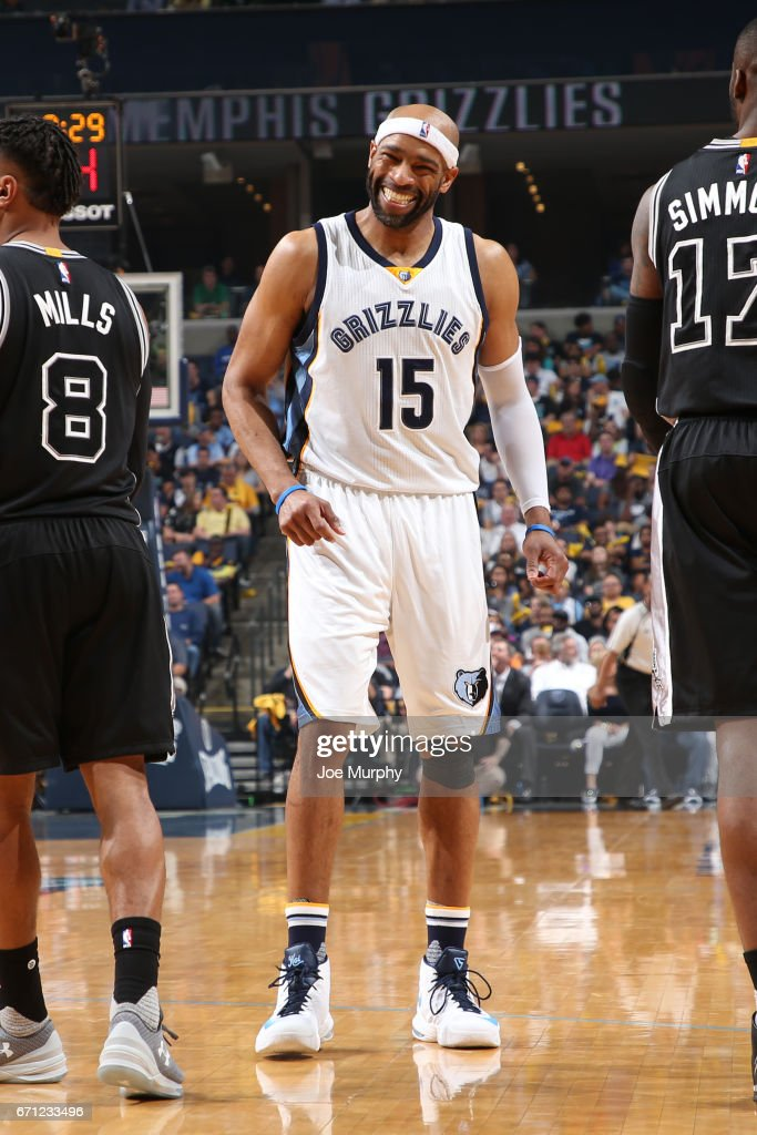 Vince Carter #15 of the Memphis Grizzlies reacts during the game against the San Antonio Spurs in Game Three of the Western Conference Quarterfinals of the 2017 NBA Playoffs on April 20, 2017 at FedExForum in Memphis, Tennessee.