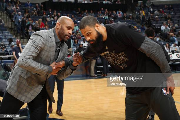 Vince Carter of the Memphis Grizzlies shake hands with Tyson Chandler of the Phoenix Suns before the game on February 8 2017 at FedExForum in Memphis...