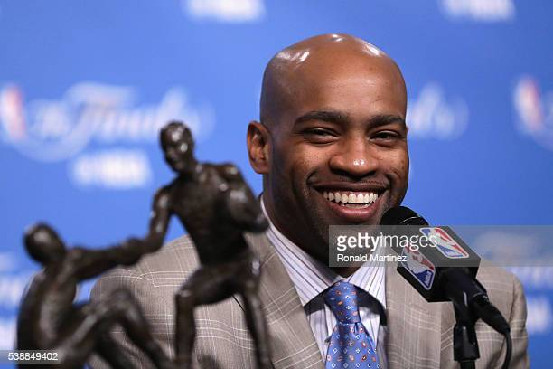 Vince Carter of the Memphis Grizzlies speaks with the media during a press conference after being awarded the 201516 TwymanStokes Teammate of the...