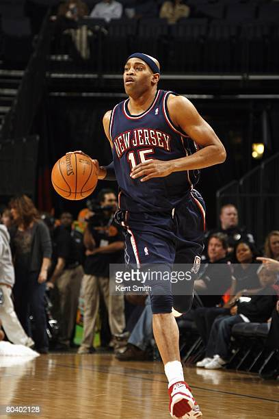 Vince Carter of the New Jersey Nets dribbles the ball against the Charlotte Bobcats on February 8 2008 at the Charlotte Bobcats Arena in Charlotte...