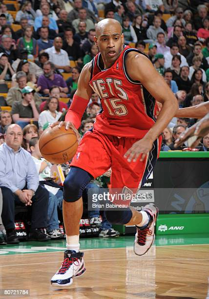 Vince Carter of the New Jersey Nets drives the lane against the Boston Celtics on April 16 2008 at the TD Banknorth Garden in Boston Massachusetts...