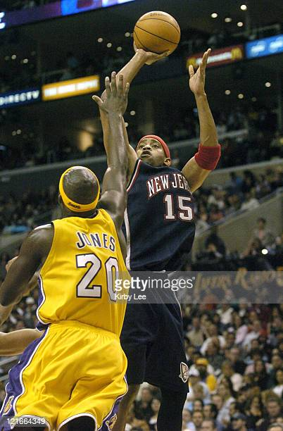 Vince Carter of the New Jersey Nets during 109103 victory over the Los Angeles Lakers at the Staples Center in Los Angeles Calif on Jan 28 2005