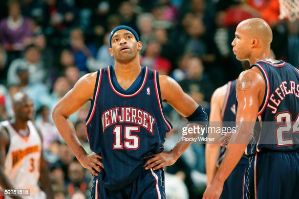 Vince Carter of the New Jersey Nets is seen during the game against the Golden State Warriors on November 21 2005 at the Arena in Oakland California...