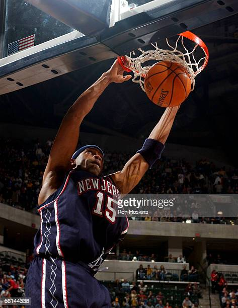 Vince Carter of the New Jersey Nets jams on the Indiana Pacers on November 11, 2005 at Conseco Fieldhouse in Indianapolis, Indiana. NOTE TO USER:...