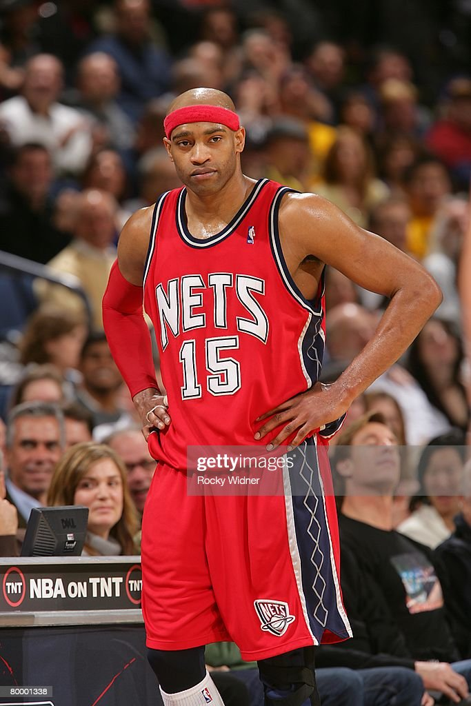new products 86878 e256b Vince Carter of the New Jersey Nets looks on during the NBA ...