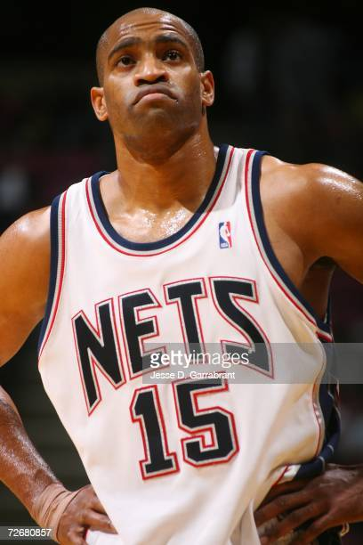 Vince Carter of the New Jersey Nets rests during the game against the Seattle SuperSonics on November 13, 2006 at the Continental Airlines Arena in...