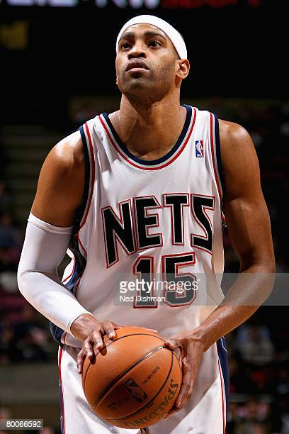 Vince Carter of the New Jersey Nets shoots a free throw during the game against the Chicago Bulls on February 20 2008 at the Izod Center in East...