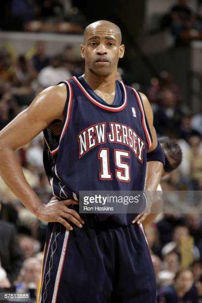 Vince Carter of the New Jersey Nets stands on the court in game three of the Eastern Conference Quarterfinals during the 2006 NBA playoffs against...
