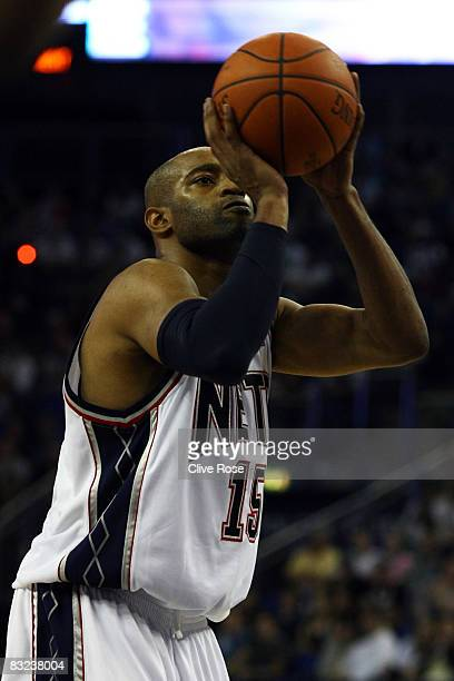 Vince Carter of the New Jersey Nets takes a free throw during the NBA preseason game as part of the 2008 NBA Europe Live Tour between New Jersey Nets...