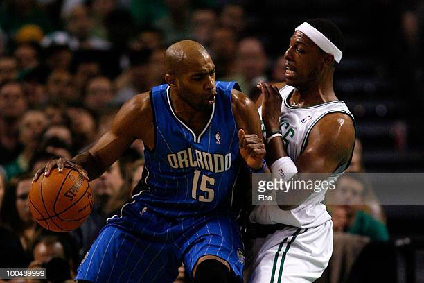 Vince Carter of the Orlando Magic dribbles against Paul Pierce of the Boston Celtics in Game Four of the Eastern Conference Finals during the 2010...