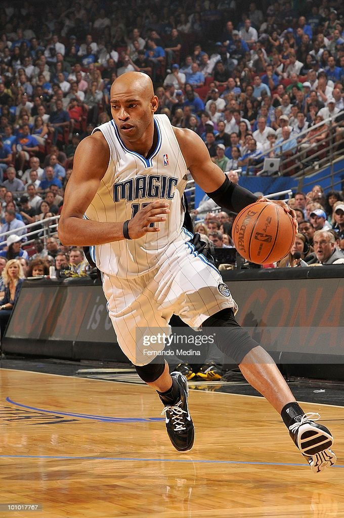 Vince Carter #15 of the Orlando Magic drives the ball against the Boston Celtics in Game Two of the Eastern Conference Finals during the 2010 NBA Playoffs on May 18, 2010 at Amway Arena in Orlando, Florida. The Celtics won 95-92.