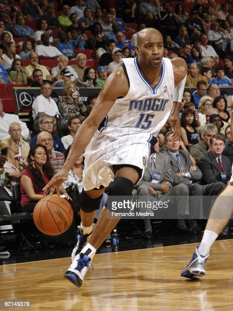 Vince Carter of the Orlando Magic drives the ball to the basket during the preseason game against the Houston Rockets on October 9 2009 at Amway...