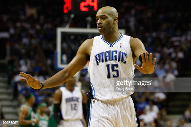 Vince Carter of the Orlando Magic gestures on court against the Boston Celtics in Game Two of the Eastern Conference Finals during the 2010 NBA...