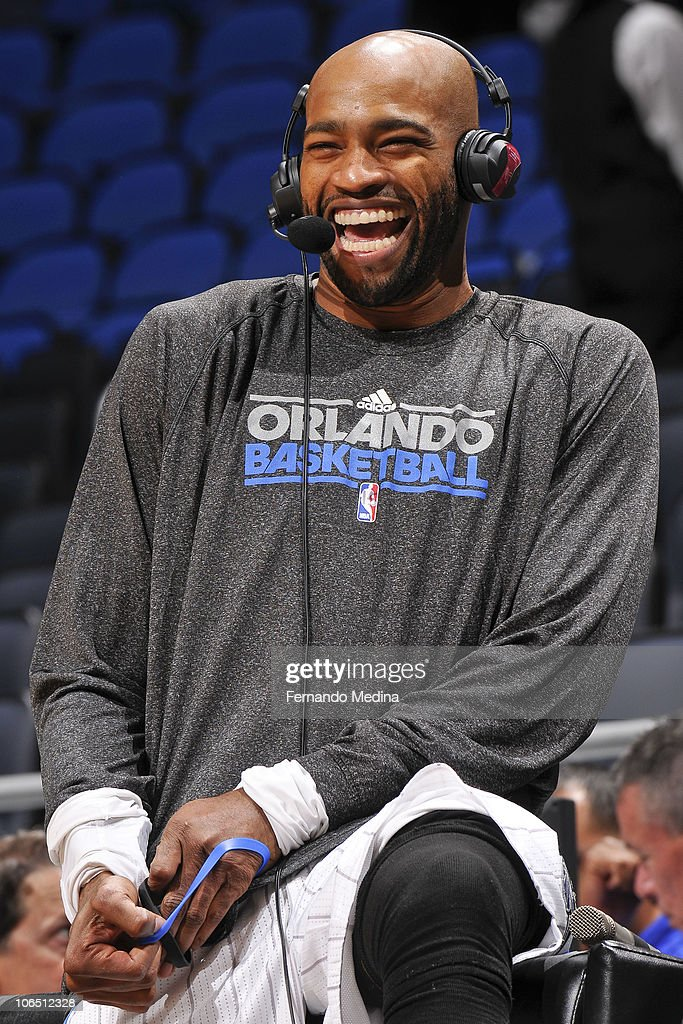Vince Carter #15 of the Orlando Magic laughs during a post game interview against the Minnesota Timberwolves on November 3, 2010 at the Amway Center in Orlando, Florida.