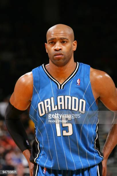 Vince Carter of the Orlando Magic looks on during the game against the Golden State Warriors at Oracle Arena on December 5 2009 in Oakland California...