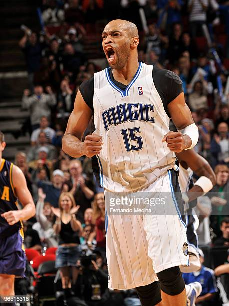 Vince Carter of the Orlando Magic reacts after making a three point shot against the New Orleans Hornets during the game on February 8, 2010 at Amway...