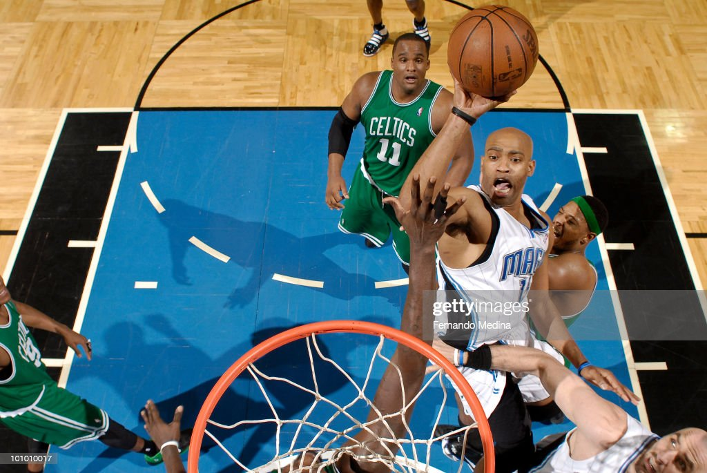 Vince Carter #15 of the Orlando Magic shoots against the Boston Celtics in Game Five of the Eastern Conference Finals during the 2010 NBA Playoffs on May 26, 2010 at Amway Arena in Orlando, Florida.
