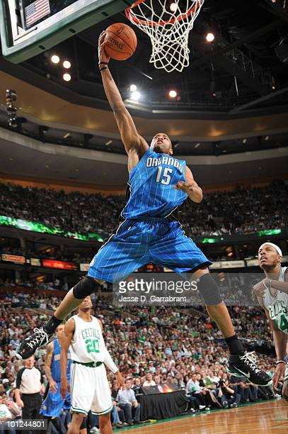 Vince Carter of the Orlando Magic shoots against the Boston Celtics in Game Six of the Eastern Conference Finals during the 2010 NBA Playoffs at the...