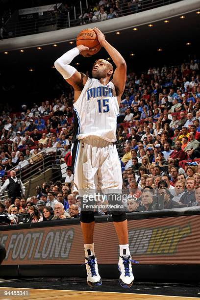 Vince Carter of the Orlando Magic shoots against the Indiana Pacers during the game on December 14 2009 at Amway Arena in Orlando Florida NOTE TO...