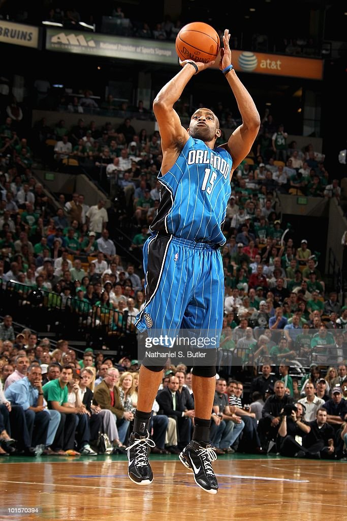 Vince Carter #15 of the Orlando Magic shoots in Game Four of the Eastern Conference Finals against the Boston Celtics during the 2010 NBA Playoffs on May 24, 2010 at TD Garden in Boston, Massachusetts. The Magic won 96-92.