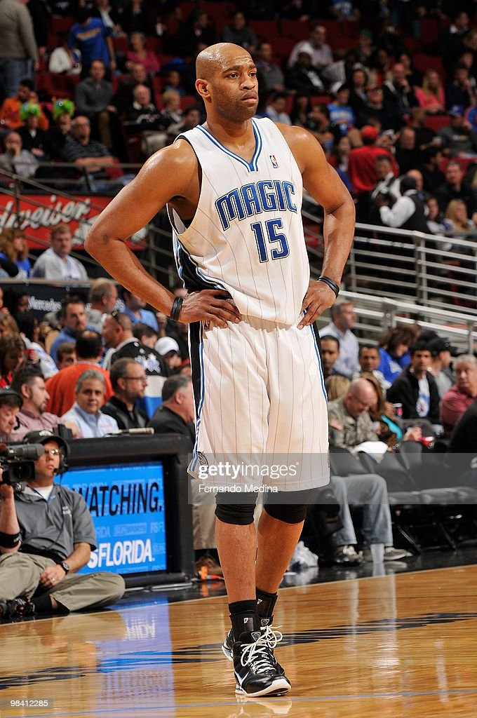 Vince Carter #15 of the Orlando Magic stands on the court during the game against the Golden State Warriors on March 3, 2010 at Amway Arena in Orlando, Florida. The Magic won 117-90.