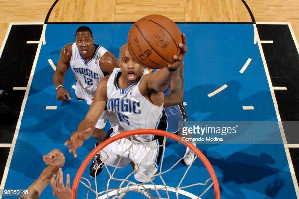Vince Carter of the Orlando Magic takes the ball to the basket against the Memphis Grizzlies during the game on April 4 2010 at Amway Arena in...