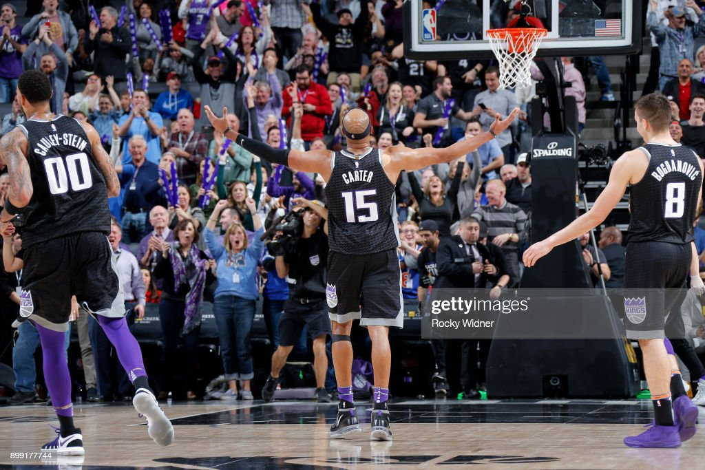 Vince Carter #15 of the Sacramento Kings addresses the crowd during the game against the Cleveland Cavaliers on December 27, 2017 at Golden 1 Center in Sacramento, California.