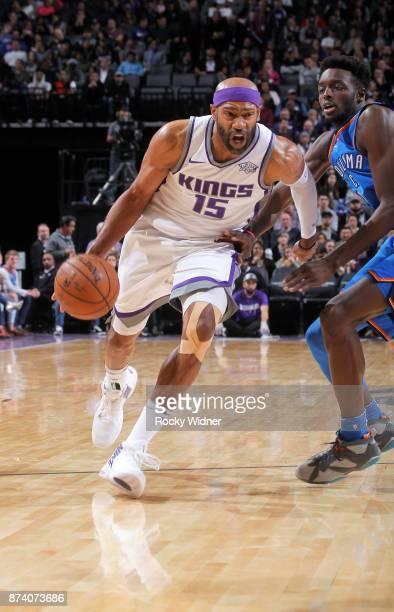 Vince Carter of the Sacramento Kings drives against the Oklahoma City Thunder on November 7 2017 at Golden 1 Center in Sacramento California NOTE TO...