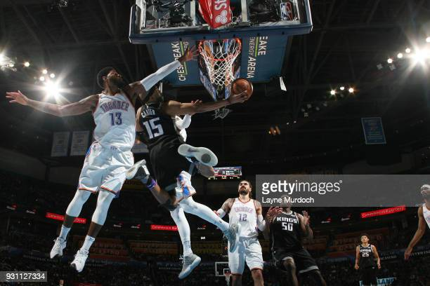 Vince Carter of the Sacramento Kings goes to the basket against the Oklahoma City Thunder on March 12 2018 at Chesapeake Energy Arena in Oklahoma...