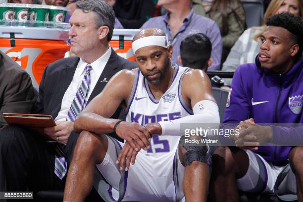 Vince Carter of the Sacramento Kings looks on during the game against the Milwaukee Bucks on November 28 2017 at Golden 1 Center in Sacramento...