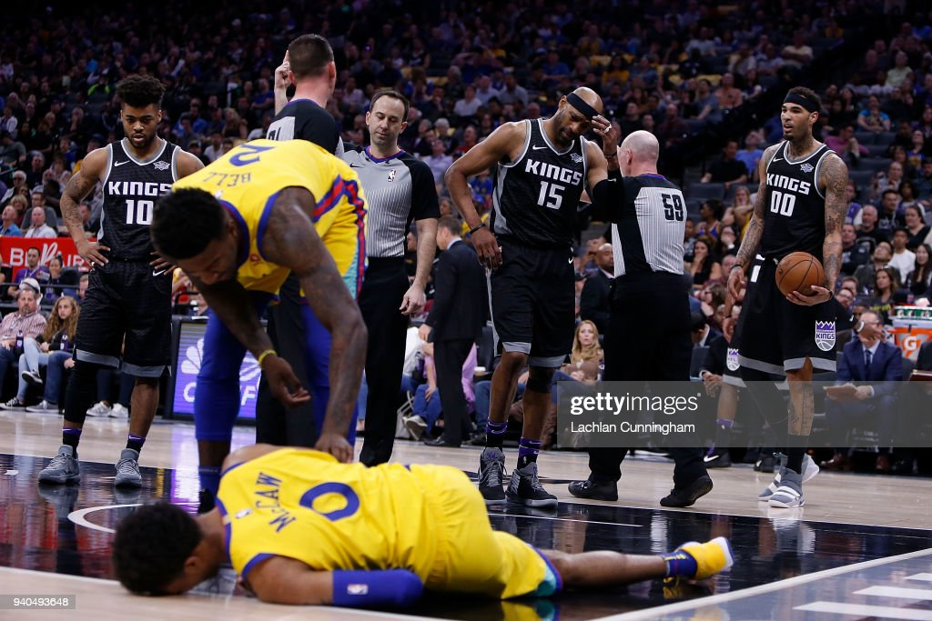Vince Carter #15 of the Sacramento Kings reacts after fouling Patrick McCaw #0 of the Golden State Warriors at Golden 1 Center on March 31, 2018 in Sacramento, California.