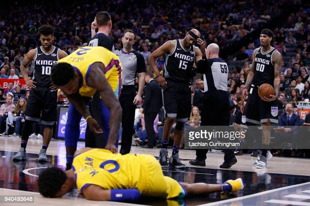 Vince Carter of the Sacramento Kings reacts after fouling Patrick McCaw of the Golden State Warriors at Golden 1 Center on March 31 2018 in...