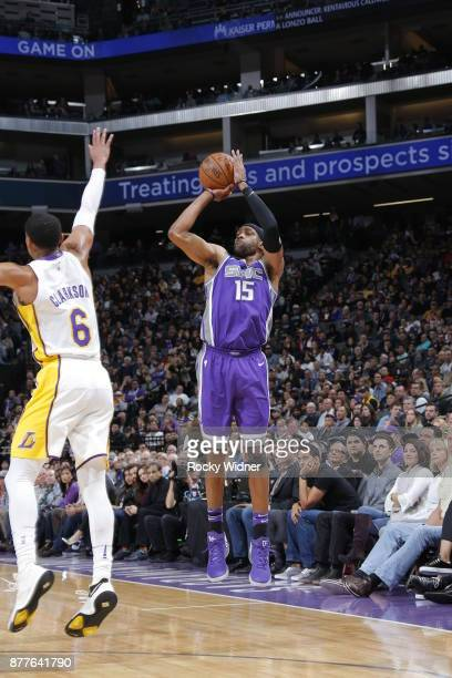 Vince Carter of the Sacramento Kings shoots the ball during the game against the Los Angeles Lakers on November 22 2017 at Golden 1 Center in...