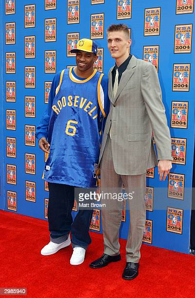 Vince Carter of the Toronto Raptors and Andrei Kirilenko of the Utah Jazz arrive at the 2004 NBA All-Star Game on February 15, 2004 at the Staples...