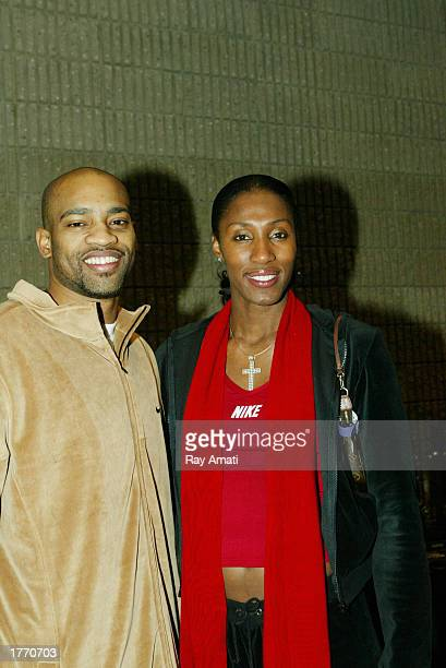 Vince Carter of the Toronto Raptors and Lisa Leslie of the Los Angeles Sparks prior to the Read to Achieve Celebration on February 8 2003 at the...