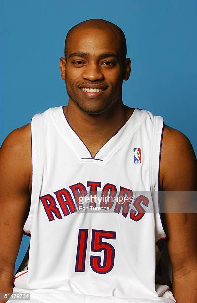 Vince Carter of the Toronto Raptors poses for a portrait during NBA Media Day on October 4 2004 in Toronto Canada NOTE TO USER User expressly...