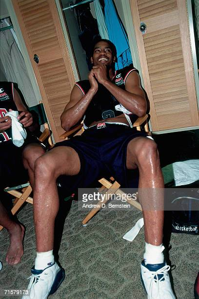 Vince Carter of the United States National Team has a laugh in the locker room prior to taking on the Canadian National Team in a 2000 pre-Olympic...