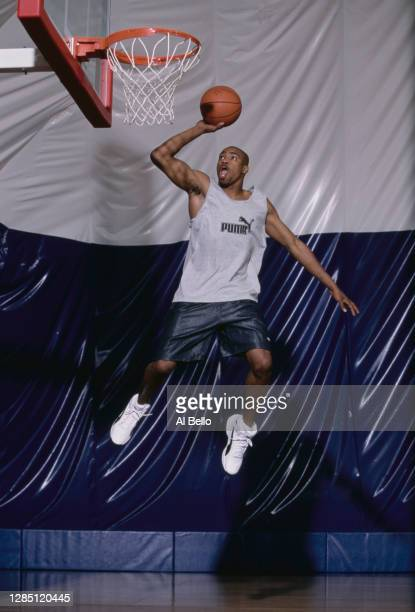Vince Carter, Power Forward for the Toronto Raptors jumps to make a one handed slam into the hoop during a photoshoot for Puma Sportswear on 17th...
