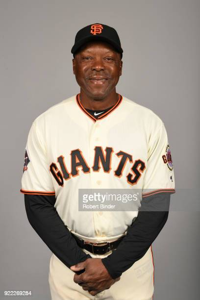 Vince Coleman of the San Francisco Giants poses during Photo Day on Tuesday February 20 2018 at Scottsdale Stadium in Scottsdale Arizona