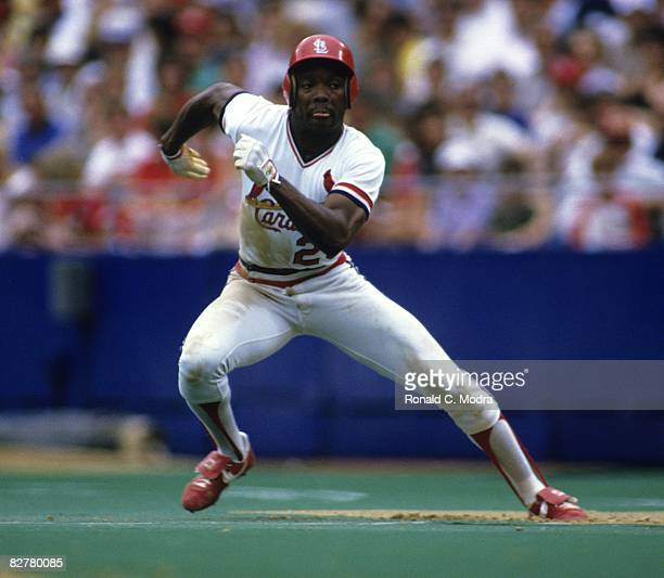 Vince Coleman of the St Louis Cardinals takes off for second base against the Cincinnati Reds during a MLB game on June 1 1985 in Busch Stadium II in...