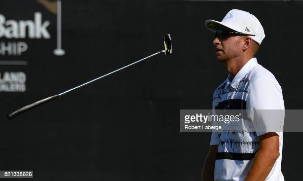 Vince Covello misses a putt on the 18th hole during the final round of the Webcom Tour Pinnacle Bank Championship on July 23 2017 at the Indian Creek...