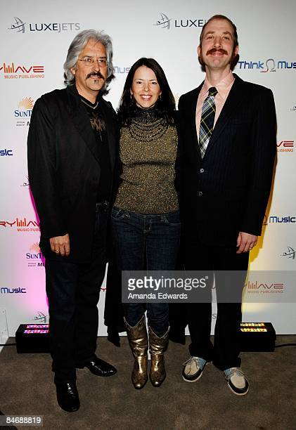 Vince Delacruz Pat Delacruz and Tim Lee attend the Primary Wave Music Publishing preGrammy party at SLS Hotel on February 7 2009 in Los Angeles...