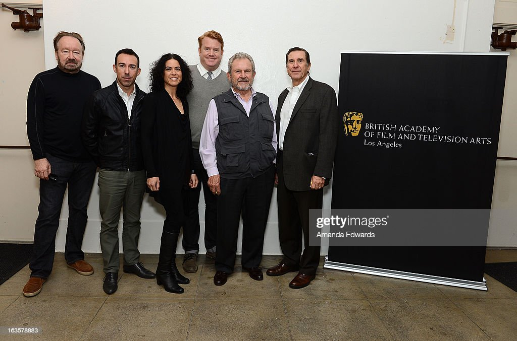 Vince DiPersio, Rob Bagshaw, Shana Mabari, Herb Ankrom, Gary Dartnall and Donald Haber attend the BAFTA LA Reality TV Master Class led by Rob Bagshaw at George Washington Preparatory High School on March 12, 2013 in Los Angeles, California.