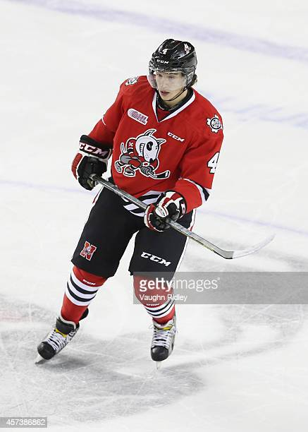 Vince Dunn of the Niagara Ice Dogs skates during an OHL game between the Belleville Bulls and the Niagara Ice Dogs at the Meridian Centre on October...