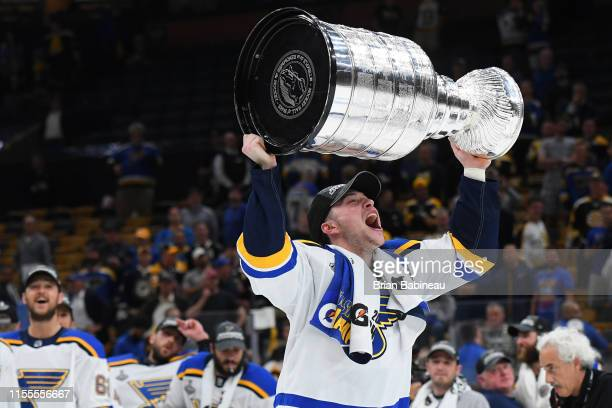 Vince Dunn of the St Louis Blues celebrates after beating the Boston Bruins in Game Seven of the Stanley Cup Final at the TD Garden on June 12, 2019...