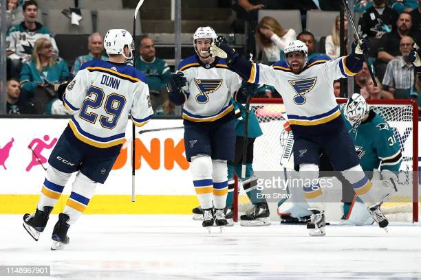 Vince Dunn of the St Louis Blues celebrates his goal against the San Jose Sharks in Game Two of the Western Conference Final during the 2019 NHL...
