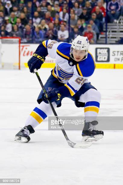 Vince Dunn of the St Louis Blues controls the puck during the game against the Columbus Blue Jackets on March 24 2018 at Nationwide Arena in Columbus...