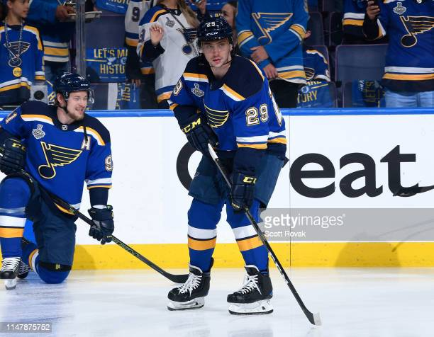 Vince Dunn of the St. Louis Blues during warmups against the Boston Bruins in Game Four of the 2019 NHL Stanley Cup Final at Enterprise Center on...