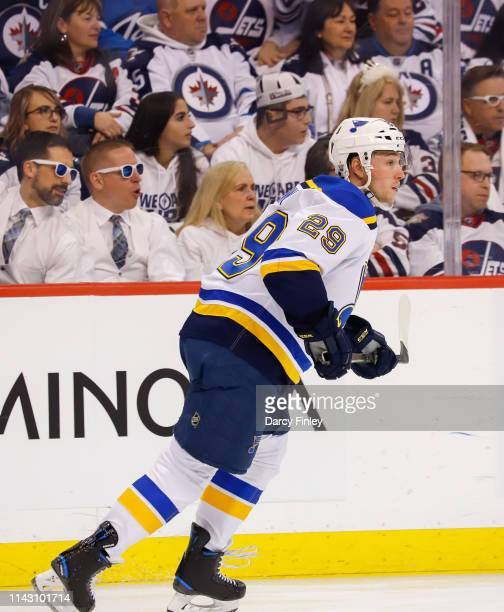 Vince Dunn of the St Louis Blues follows the play up the ice during second period action against the Winnipeg Jets in Game Two of the Western...